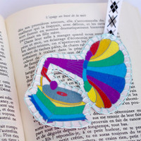 Bookmark phonograph rainbow  - Retro colorful Bookmark