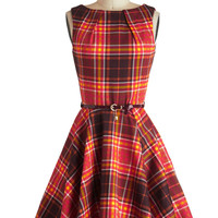 Luck Be a Lady Dress in Autumn Plaid | Mod Retro Vintage Dresses | ModCloth.com