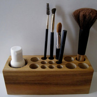 Natural Rustic Mahogany Wood Up Cycled Desk Caddy Office Organizer Pencil Small Tool Holder or Makeup Organizer