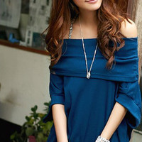 Lovely Off Shoulder Blue Ladies Blouses : Wholesaleclothing4u.com
