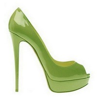 Christian Louboutin Peep 150 Patent Leather Pumps Green - $190.00