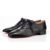 Christian Louboutin Alfred Flat Shoes Leather Black - $198.00