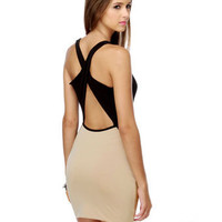Sexy Beige Dress - Color Block Dress - Open Back Dress - Cowl Neck Dress - &amp;#36;34.50