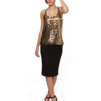 Sexy Gold Sequin Top - Gold Top - Tank Top - $53.00