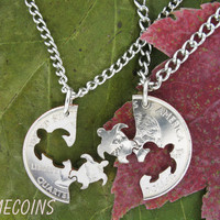 Turtle Interlocking Halves Quarter hand cut coin by NameCoins