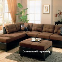 Coaster Fine Furniture 500655l Harlow L Sectional Sofa in Chocolate Microfiber and Dark Brown Faux