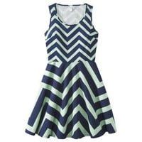 Xhilaration® Juniors Fit and Flare Chevron Dress w/ Lace - Black