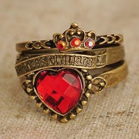 Vintage Victorian 3 Bronze Rings Set With Red Heart Charm And Crown Charm