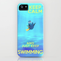 Keep Calm and Just Keep Swimming REDUX  iPhone Case by -raminik design- | Society6