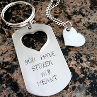 You have stolen my heart keychain with necklace stainless steel custom hand stamped his and hers heart cut out dog tag