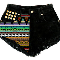 ANY Size ANY Colorway x High-Waisted Aztec Studded Frayed Denim Shorts