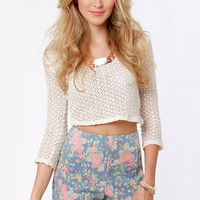 Shorts Illustrated Blue Floral Print Shorts