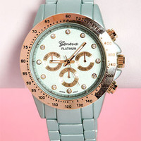 Chrono Jewels Metallic Mint Blue Watch