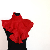 Felted scarf ruffle Red heart  red with silk by ISfelteddesign