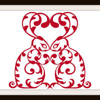 Red Work Ornamental Red Rabbits Cross Stitch Pattern | Los Angeles Needlework