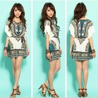 US SHIPPING sexy lady exotic boho Bohemian floral sundress tunic top shirt S/M/L