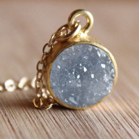 Gold Soft Grey Druzy Necklace - 14KT Gold Fill - Small Pendant