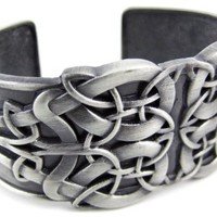 Solid Pewter Celtic Endless Knot Cuff Bracelet Keltic