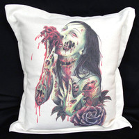 ZOMBIE Cushion cotton canvas 15x15 by wengergirl on Etsy
