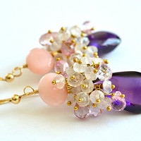 Pink Opal Amethyst Rose Quartz Pink Topaz Earrings by luxurybyvera