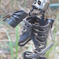 Zombie Skeleton Partying Metal Sculpture by zedszombieranch