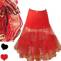 Vintage 50s RED Tulle CRINOLINE Petticoat XS S M Rockabilly SWING Tea Length Net