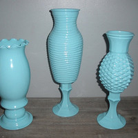 3 upcycled Tiffany Blue Pedestal vases ... Wedding ... Party ... shabby chic cottage display