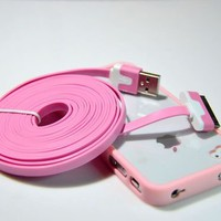 Cute Pink Trim Ultra Clear Back Cover Case+3M 10 FT Flat Cable for iPhone 4G 4S