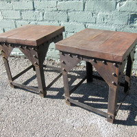 Old Wood and Iron Side Table by DesignMIXFurniture on Etsy