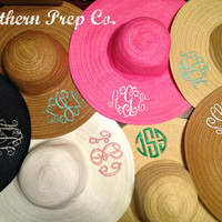 Custom Monogrammed Wide Brim Hat by SouthernPrepCo on Etsy