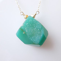 Kelly Green Druzy Necklace : SALE Was 50, Now 45