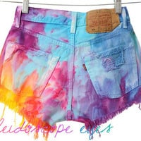 Vintage Levis 501 High Waist Rainbow MARBLED Dyed Denim Cut Off Shorts XS