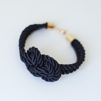Black Night Nautical Knot  Silk Rope  Bracelet by pardes on Etsy