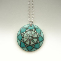 Jade Green Pendant Hand Painted Necklace  -  Long Chain -  Modern Fashion Mandala Necklace - Gift for Her