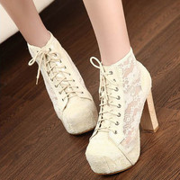 Womens High Heels Lace Up Hollow Cool Shoes Rubber Sole Sandals