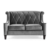 Armen Living Barrister Gray Velvet Loveseat - Loveseats at Hayneedle