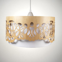 Lampshade made of wood with cut-outs / Handmade