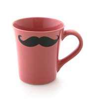 Mustache mug  Moustache Mug Pink Double Sided Kiln Fired
