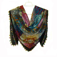 Traditional Turkish Yemeni Rayon (artificial silk) Scarf With Needlework Lace, Black / Colorful Floral Pattern