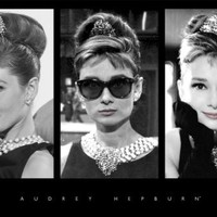Audrey Hepburn-Breakfast at Tiffany's Triptych, Movie Poster Print, 24 by 36-Inch