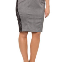 Z. Cavaricci Couture - Heringbone Black Lace Pencil Skirt | Bottoms