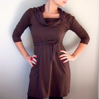 $69.00 Brown Tunic with Long Sleeves and Cowl Neck by onor on Etsy