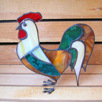 Stained Glass Rooster Rustic 3D StandUp by FleetingStillness