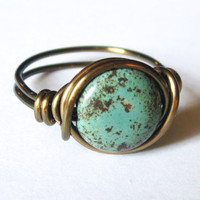Boho Turquoise Ring Custom Size In .. on Luulla