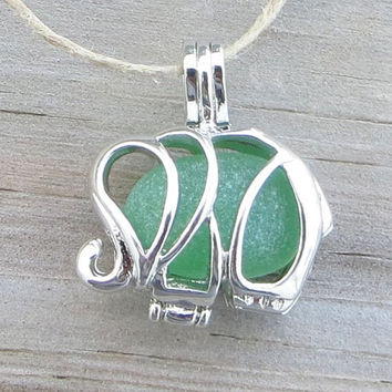 Sea Glass  Elephant Necklace Locket Frosted Green Pendant