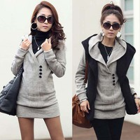 Casual Womens Long Top Knitting Sweater Free Style Buttons Hooded