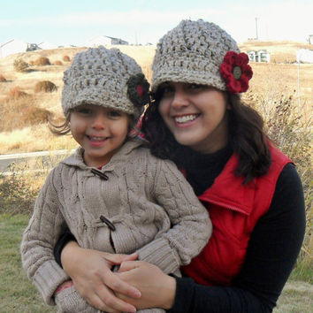 Newsboy Hats with Flower Mother Daughter by SoLaynaInspirations