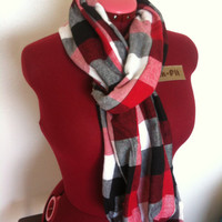 Red Plaid Infinity Scarf