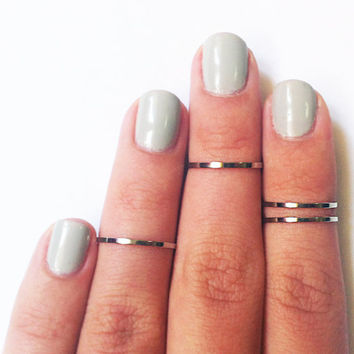 4 Above the Knuckle Rings  chrome silver plated thin by galisfly