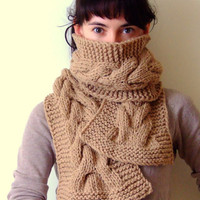 Cable scarf in light brown by CozySeason on Etsy